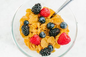 Granola, cereal with berries in a