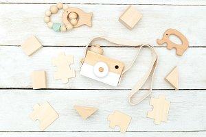 Wooden children toys. Zero waste