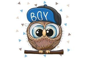 Cartoon Owl in a cap