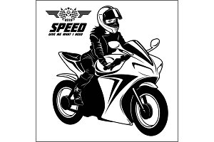 Woman and sport motorbike -