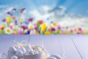 Painted eggs on easter background
