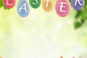 Holiday floral background with eggs