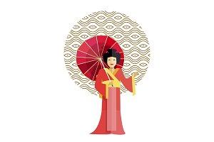 Geisha in Kimono with Umbrella