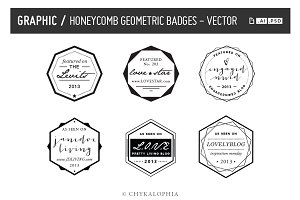Honeycomb Geometric Badges Vector