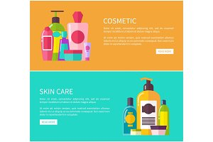 Skin Care Cosmetic Set, Color Vector
