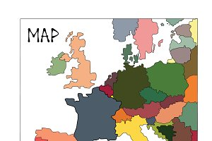 Colorful abstract map of europe