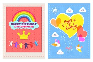Set of Posters Happy Birthday Little