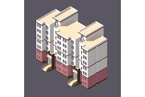 low poly town apartment building