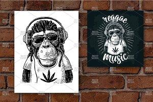 Monkey hipster reggae engraving