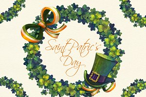 St Patrick Day watercolor wreath