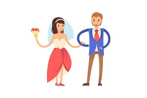 Woman with Veil, Man in Suit Vector