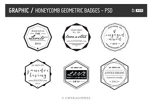 Honeycomb Geometric Badges PSD