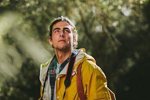 Portrait of a hiker standing