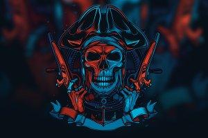 Dead pirate skeleton. T-shirt design