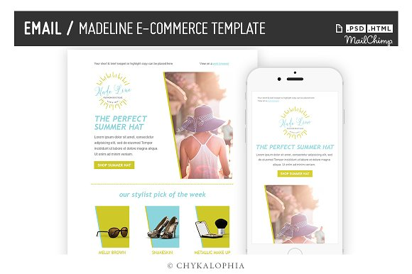 Madeline Ecommerce Email Template Email Templates Creative Market - Mailchimp ecommerce templates