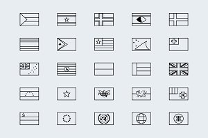 Simplified outline world flags