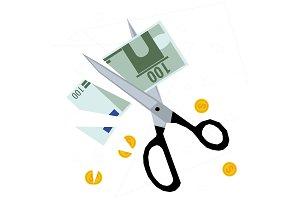 Scissors cutting money - concept of