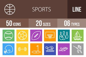 50 Sports Line Multicolor Icons