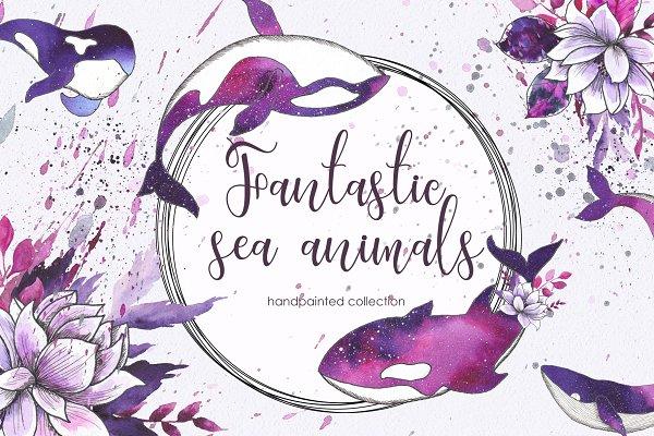 Ocean sea watercolor animals