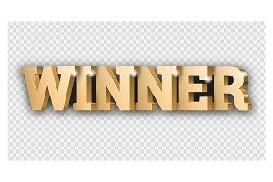 The gold 3d word Winner. Gambling