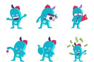 Illustration Of Blue Monster Set