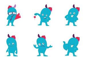 Cartoon Blue Monster Illustration