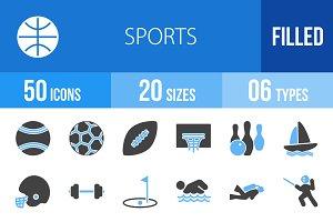 50 Sports Blue & Black Icons
