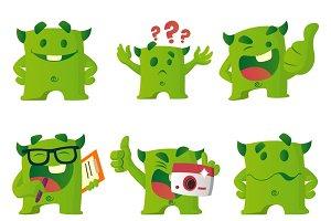 Illustration Of Green Monster Set