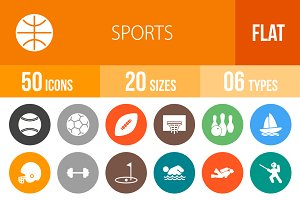 50 Sports Flat Round Icons