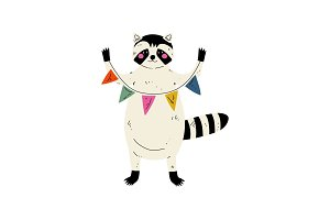 Cute Raccoon Standing with Party