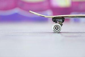 closeup of a skateboard