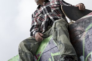 bottom view of an old man skater