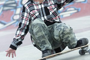 male skater is skating