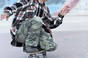 old man skater enjoying skating