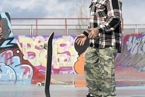 old man skater playing