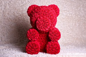 Red bear of roses present gift for V