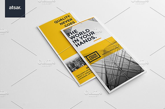 yellow architecture trifold brochure templates creative market
