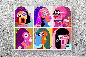 Six Faces / Six Portraits vector