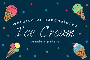 Ice Cream Watercolor Pattern