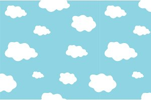 Cute vector seamless ethereal clouds