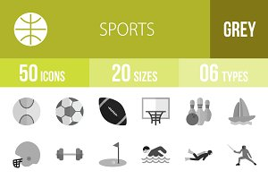 50 Sports Greyscale Icons