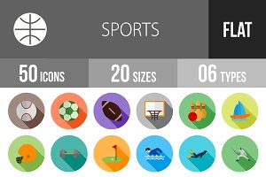 50 Sports Flat Shadowed Icons