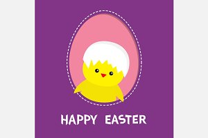Happy Easter Chicken bird with shell