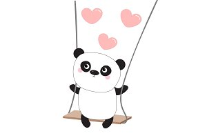 Panda ride on the swing. Hearts