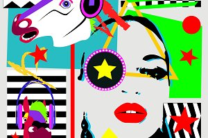 Pop art background with a girl, hors