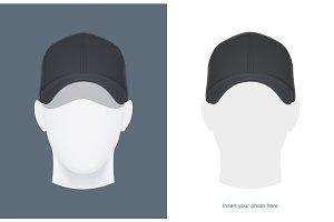 Baseball cap at head. Vector.