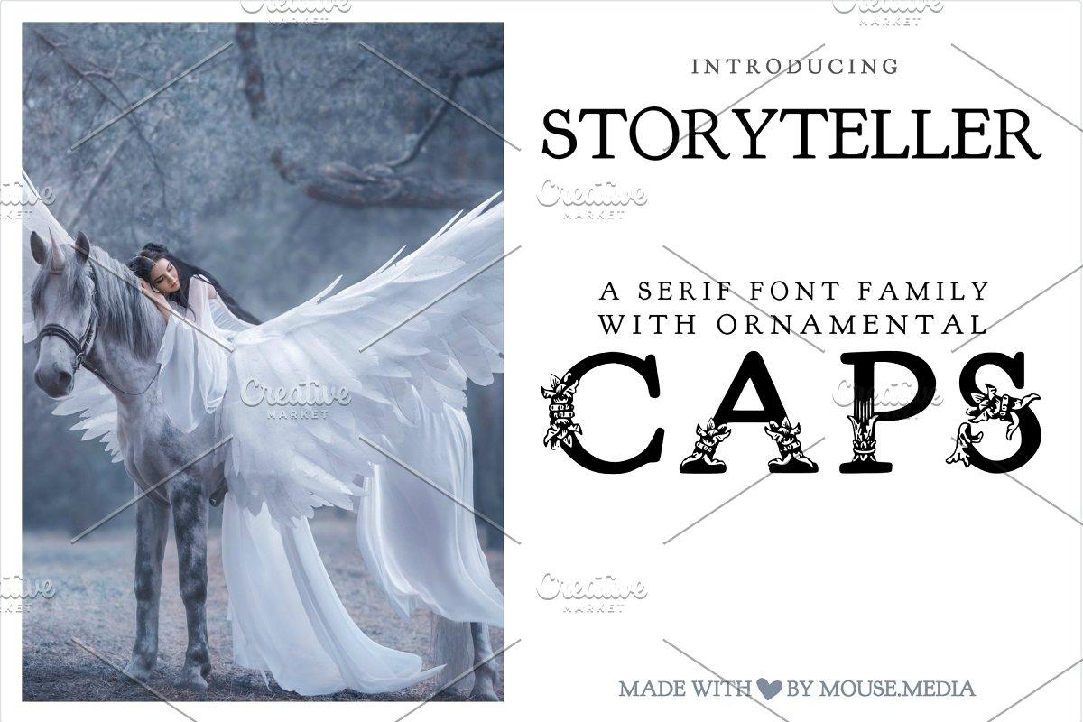 Storyteller Serif Font w Pretty Caps