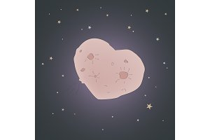 Space love. Heart planet. Valentines