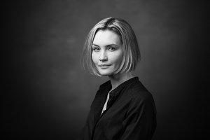 Dramatic black and white portrait of