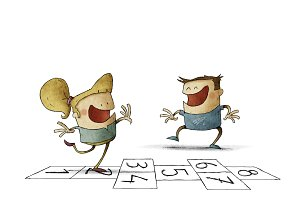 Children and hopscotch